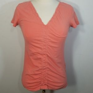Theory Coral Ruched Top Small